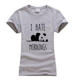 Wholesale Funny Korean T Shirts - Wholesale- 2017 summer I HATE MORNINGS cute Panda Print Women T-shirt fashion harajuku brand korean tee shirt femme funny hipster punk tops