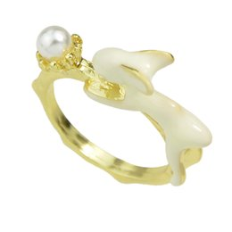 Wholesale Pearl Bunny - Fashion Jewelry Gold color with Created Pearl White Enamel Bunny Finger Rings For Women