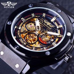 Wholesale Design Inside - Wholesale- Winner 2016 Luxury Sport Design Matte Scrub Golden Dial Inside Men Watches Top Brand Luxury Automatic Male Wrist Watch Clock Men
