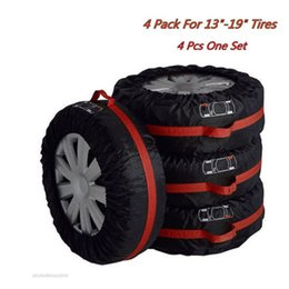 "Wholesale Nylon Car Covers - 4x Car Truck Seasonal Spare Tyre 13""-19"" Tire Protection Storage Bags Carry Tote Car Tire Cover Protector Cover black wheel accessories"