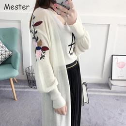 Wholesale Elegant Summer Cardigans - Spring Summer Long cardigan Lantern Sleeve Embroidery Flower Cardigan Elegant Ladies Loose Thin Knitted Maxi Cardigan Cape Coat