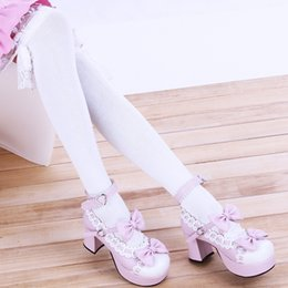 Wholesale Japanese Maids Pink - Wholesale- inDostyle Princess sweet Lolita stockings pink and white Japanese anime cos maid lace stockings knee high cotton leging808004