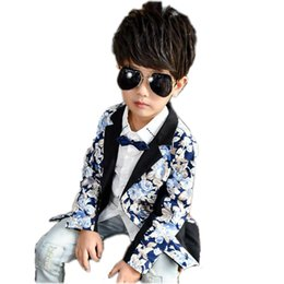 Wholesale Male Blazers - fashion kid boy blazer coat gentle floral print Spring causal suit coat for 3-10years boys male children outerwear clothes hot