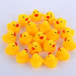 Wholesale Racing Gifts - Baby Bath Toy Sound Rattle Children Infant Mini Rubber Duck Swimming Bathe Gifts Race Squeaky Duck Swimming Pool Fun Playing Toy IB255