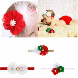 Wholesale Shabby Pearl Headbands - Christmas Hair Bow With Shabby Chiffon Flower Pearls Soft Hair Band Boutique Girl Set Party Decoration