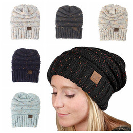 Wholesale Crochet Hats Caps - CC Knitted Hats CC Trendy Beanie Women Chunky Skull Caps Winter Cable Knit Crochet Hats Fashion Outdoor Warm Winter Hats KKA2278