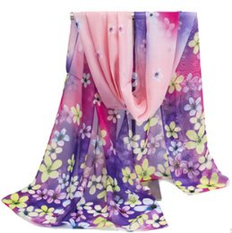 Wholesale Yellow Scarf Black Dots - Fashion Brand 2017 Summer Scarf Women Printing Chiffon Scarves Polyester Floral luxury brand Foulard Femme Summer Scarf Women Beach scarves
