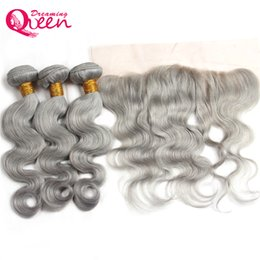 Wholesale Brazilian Knot Hair Extension - Grey Color Body Wave Ombre Brazilian Virgin Human Hair Weave Extension 3 Pcs With 13x4 Lace Frontal Closure Gray Bleached Knot Frontal