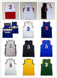 Wholesale Red I - Throwback A I #3 Basketball Jersey Men's stitched Mesh A I #3 Jerseys High quality Retro Embroidery Logos Jerseys free shipping S-XXL