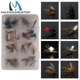 Wholesale Mixed Fishing Lures - Wholesale- Maximumcatch 24Pieces Mixed Dry Flies Pack set Feather Bait Hook Fly Flies Fish Hook Lures Fishing Flies