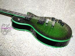 Flamme de guitare verte en Ligne-En gros Guitares Date Green Flame Custom Guitare Électrique Acajou Livraison gratuite