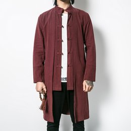 Wholesale Traditional Chinese Robes - Wholesale- Helisopus Linen men's Fake two pieces Long Trench Mandarin Collar Traditional Chinese Shirt crosstalk robe Kung fu Pankou Trench