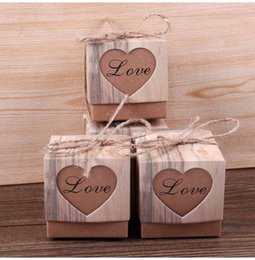 Wholesale Twine For Food - 50pcs Heart Hollow candy box Candy Box Vintage Wedding Gifts For Guests Kraft Boxes With Rustic Burlap Twine Wedding Favors Decoration