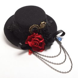 Wholesale Mini Party Top Hats - 1pc Steampunk Lolita Girls Black Little Mini Top Hat Hair Clip Rose Floral Lace Chain Headwear Vintage Party Gift