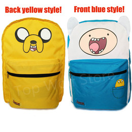 Wholesale Adventure Time Jake Bag - Wholesale- Original Adventure Time Backpack Canvas Bag Finn and Jake Double-Sided School Bags for Boys Girls Casual Schoolbag Knapsack