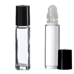Wholesale Empty Glass Aromatherapy Bottles - 10 Ml 1 3oz Glass Roll on Bottles Empty Aromatherapy Perfume Bottles- Refillable Slim with Cap Transparent