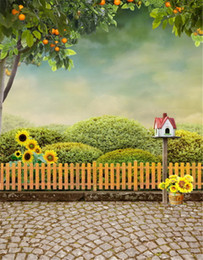 Wholesale Beautiful Garden Trees - Beautiful Green Plants Garden Photography Backdrops Wood Fence Brick Floor Orange Tree Sunflowers Backgrounds for Photo Studio