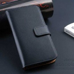 Wholesale Luxury Retro Leather Wallet S4 - Luxury Retro Real Genuine Leather Wallet Case for Samsung Galaxy SIV Mini i9190 Stand Flip Phone Accessories Cover for S4 Mini