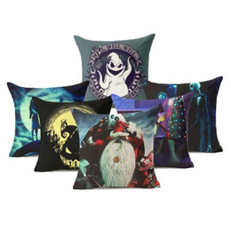 Wholesale Ghost Covers - Pillowcase Nightmare Before Christmas Ghost Halloween 45cm*45cm Cotton Linen Cushion Cover For Sofa Bedroom Home Decor
