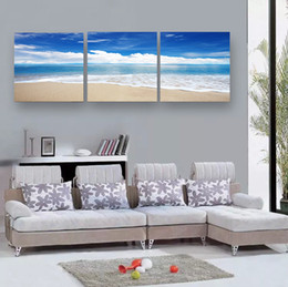 Wholesale Cheap Wall Picture - 3 Piece Home Decoration Picture Paintings Canvas Wall Art Cheap Bule Sky Canvas Printing Sandy Beach Prints Picture Canvas Art
