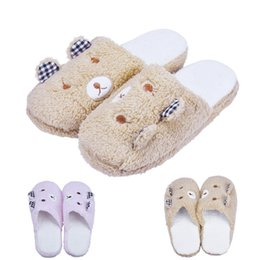 Wholesale Wholesale Pink Flip Flop - Wholesale- 2016 New Spring Autumn Coffee Pink Color Coming Lovely Bear Home Floor Soft Cotton-padded Slippers Shoes 36-41 Size Ulrica