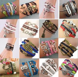 Wholesale Infinity Stainless Wholesale - DIY Infinity Bracelets Charming Antique Cross Bracelets Hot sale 37 Styles fashion Leather Multiplayer Bracelets Acc004