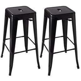 2 Metal Steel Bar Stools Vintage Antique Style Counter Bar Stool black from dropshipping suppliers
