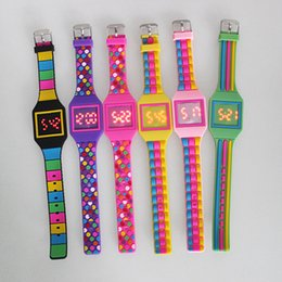 Wholesale Digital Watches For Girls - New Fashion Silicone Watches Colorful Soft Silicon Rubber Kids Watches Rectangle Screen LED Digital Wristwatches For Children Girls Boy Gift