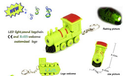 Wholesale Engine Key Chain - Train Engine Key Chain Ring with LED Light and Sound Child Kid Toy gift