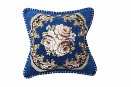 Wholesale Blue Pillow Covers 18 - Sofa Cushion Cover 18*18 inch Thick Chenille Highn-Quality Fabric Decoration Housewarming Gift Car Throw Square Pillow Cover Pillow Case