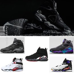 Wholesale Canvas Aqua - New 8 8s Chrome Aqua Black Purple Basketball Shoes Men 8s Playoffs Three Peat 2013 Release Sneakers