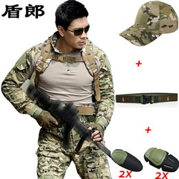 Wholesale Tactical Pants Acu - Military Uniforms Combat Jacket Pant 2 Knee Pads Army Tactical Uniform Airsoft ACU Camouflage Outdoor Hunting Clothing Tactical Sets For Men