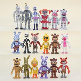 Circa 10 cm 6 pezzi / lotto Cinque notti a Freddy '; S Sister Location Fnaf Bonnie Funtime Foxy Ballora Freddy Puppet Plushtrap Pvc Figure da procione giocattolo all'ingrosso fornitori