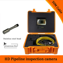 Wholesale Endoscope Camera Lcd - (1 set) 50M Cable industry Endoscope Camera HD 1100TVL line 7 inch TFT-LCD Display Sewer Pipe Inspection Camera System version