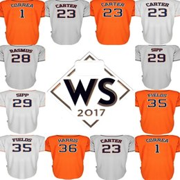 Wholesale Field Brown - With 2017 WS Patch Houston 23 Chris Carter 28 Colby Rasmus 29 Tony Sipp 31 Collin McHugh 35 Josh Fields Stitched Baseball Jerseys