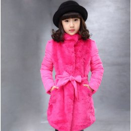 Wholesale Casual Faux Fur Hooded Pad - 2016 Winter Girls Jackets Faux Fur Fleece Warm Baby Girls Coats Cotton-padded Parkas Children's Jackets Coats