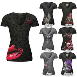 Wholesale Girls Shirts Lips - Girls Women T-Shirt Blusas Short Sleeve V neck Print Skull Red Lip Women Tops Bodycon Slim Fit Punk Style Tee Shirt S-5XL