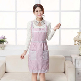 Wholesale Princess Kitchens - Women Aprons with Pocket Cooking Ruffle Chef Floral Kitchen Restaurant Princess Apron Polyester Kindergarten Clothes Bib with Pockets
