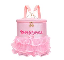 Wholesale Girls Dancing Bags - Kids backpacks Princess Dance Bag Children Lace Tutu Bag Child Shouldren Bags Pink Tulle Backpack with Tote Handle for Dancing Ballet Girl