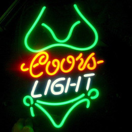 Wholesale girl bar neon light sign - Fashion New Handcraft Bikini Girl Green Coors Light Real Glass Tubes Beer Bar Pub Display neon sign 19x15!!!