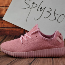 Wholesale Lovely Hard - 2017 NEW young girl heart lovely pink Boost 350 Pirate Black pink Boost 350 Boost Quility woman shoes Right Version With Box