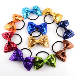Wholesale Glitter Hair Ties - 2017 New Handmade Fashion Shiny Glitter Elastic Hair Bow Ties For Girl Boutique Bling Bow Hairbands Kid Hair Ropes Accessories ZA1428