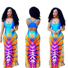 Wholesale Maxi Dress Nightclub - 2PCS LOT S-3XL Plus Size Hot Selling Wholesale Cheap Sexy Europe Gradient Of Digital Printing Nightclub Skirt Dress