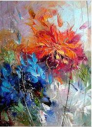 Pintura a óleo laranja abstrata flores on-line-Emoldurado Agradável Abstrato Azul Laranja Flores, Pure Pintado À Mão Moderna Decoração Da Parede floral Arte Pintura A Óleo Sobre Tela de Qualidade Multi tamanhos Disponíveis