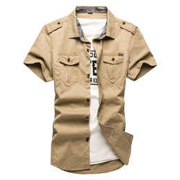 Wholesale Army Khaki Uniform - Free Shipping Cotton Short sleeve shirts for Mens Short-sleeve Plus Size Military Uniform Loose Shirt Cotton-Padded Army Shirts