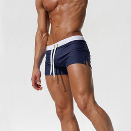 Wholesale Sexy Mens Swimming Shorts - Wholesale- Hot Sale Mode Swimming Shorts Lacing Sexy Short de bain Homme Summer Slim Fit Mens Swimwear Zipper Pocket Board Shorts 62056