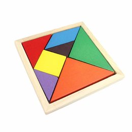 Wholesale Tangram Puzzle Jigsaw - Wholesale- Kid Wooden Toys Tangram Brain Teaser Tetris Game Colorful Geometry Shape Jigsaw Puzzle Educational Wooden Puzzle Toys