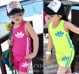 Wholesale Boys Summer Vests - 2017 Summer kids clothing set explosion models cotton sleeveless Children Vest + shorts boys sport suit girls jogging sportswear