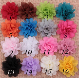 Wholesale Lace Flowers For Headbands Vintage - Vintage Chiffon Flower Headband Girls Hair Accessories Chiffon Flower 16 Colors For Selection Free Shipping YH409