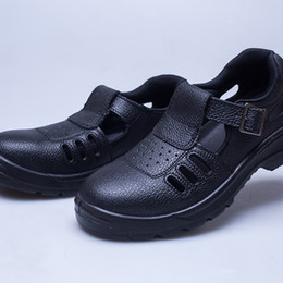 Wholesale Genuine Leather Wear - Men Two Layer Embossed Leather Boots Work Polyester Shoes Safety Protective Sandals Shock absorption Non-slip Wear-resistant